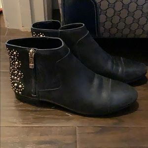 BCBGengeration Black Leather Booties with gold